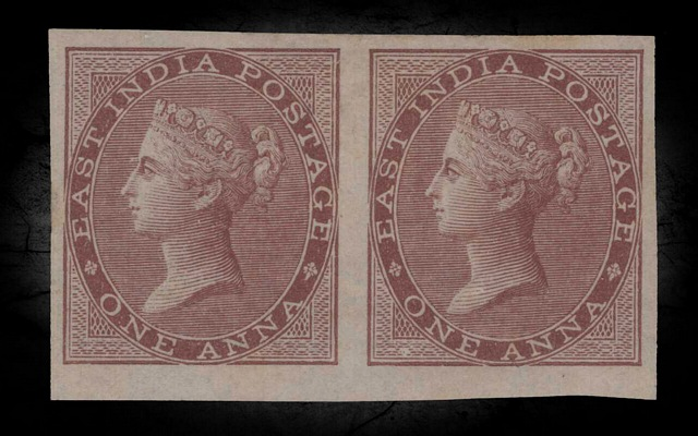 India DLR QV 1856-64 SG39a 1a Brown Imperforate Pair LMM CV£1400+