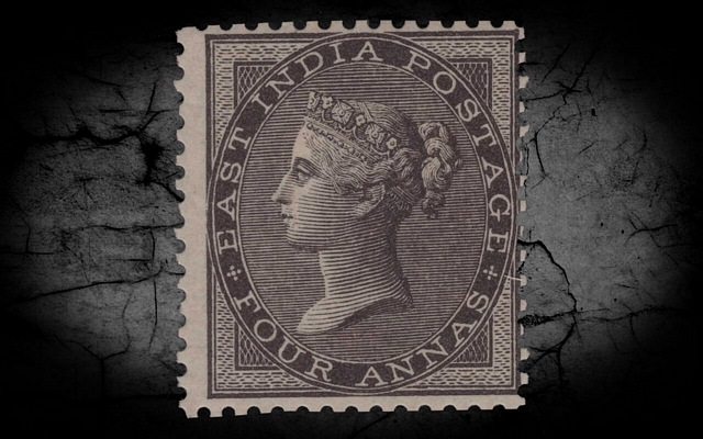 India DLR QV 1856-64 SG45 4a Black w/Cert MM CV£1000++