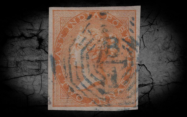 India DLR QV 1865 SG62a 2a Orange Imperf Single w/Cert VFU CV£4000