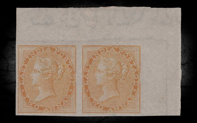 India DLR QV 1858 SG42a 2a Yellow-buff Imperf Pair VLMM CV£3750