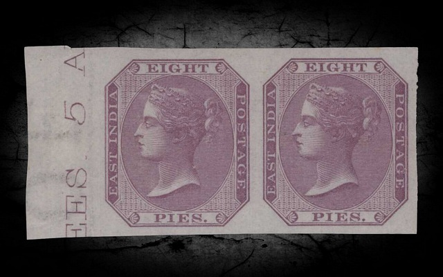 India DLR QV 1860 SG52b 8p Purple Imperf Pair w/Cert UM CV£11000